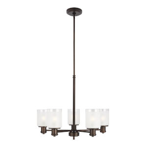 Norwood Burnt Sienna Five-Light Chandelier with Clear Highlighted Satin Etched Shade