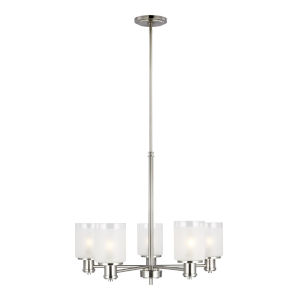 Norwood Brushed Nickel Five-Light Chandelier with Clear Highlighted Satin Etched Shade