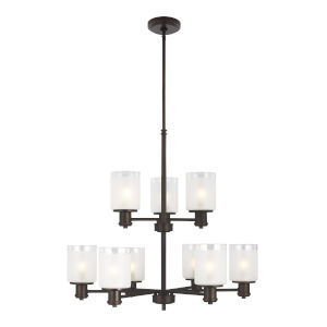Norwood Bronze Nine-Light Chandelier with Clear Highlighted Satin Etched Shade