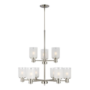 Norwood Brushed Nickel Nine-Light Chandelier with Clear Highlighted Satin Etched Shade Energy Star