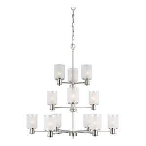 Norwood Brushed Nickel 12-Light Chandelier with Clear Highlighted Satin Etched Shade