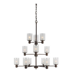 Norwood Burnt Sienna 12-Light Chandelier with Clear Highlighted Satin Etched Shade Energy Star