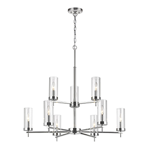 Zire Chrome Nine-Light Chandelier