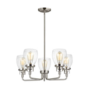 Belton Brushed Nickel Five-Light Chandelier Title 24