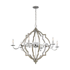 Socorro Washed Pine 40 Six-Light Chandelier Title 24