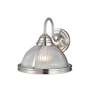 Pratt Street Sconces Brushed Nickel Energy Star LED Bath Sconce with Clear Ribbed Glass