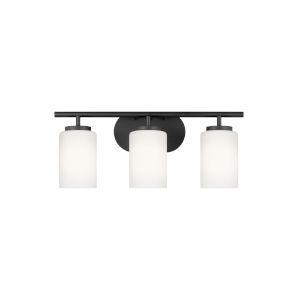 Oslo Midnight Black Three-Light Bath Vanity with LED Bulbs