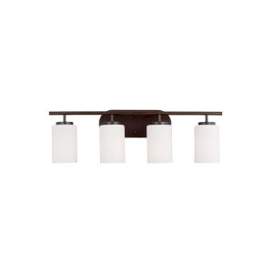 Oslo Burnt Sienna Four-Light Bath Vanity with Cased Opal Etched Shade