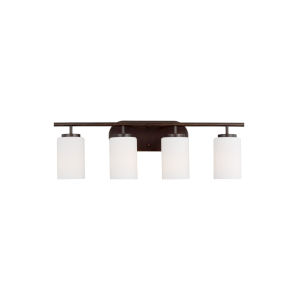 Oslo Burnt Sienna Four-Light Bath Vanity with Cased Opal Etched Shade Energy Star