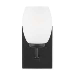 Catlin Midnight Black One-Light Bath Vanity with Etched White Inside Shade