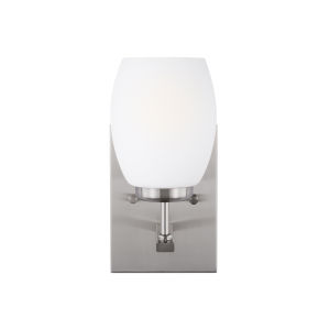 Catlin Brushed Nickel One-Light Bath Vanity with Etched White Inside Shade