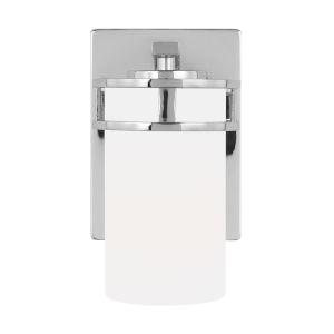 Robie Chrome One-Light Bath Vanity with Etched White Inside Shade