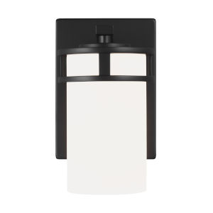 Robie Midnight Black One-Light Bath Vanity with Etched White Inside Shade