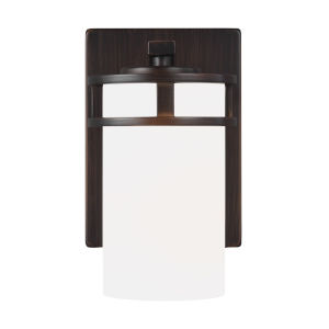 Robie Bronze One-Light Bath Vanity with Etched White Inside Shade