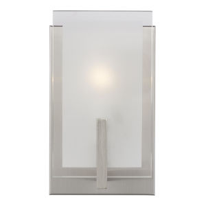 Syll Brushed Nickel One-Light Bath Vanity with Clear Highlighted Satin Etched Shade