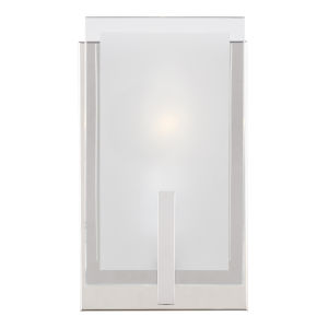 Syll Chrome One-Light Bath Vanity with Clear Highlighted Satin Etched Shade Energy Star