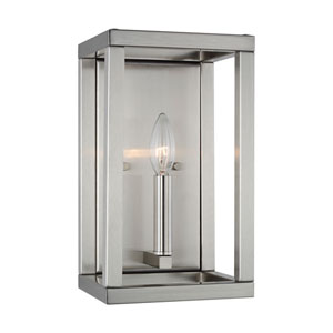 Moffet Street Brushed Nickel One-Light Bath Sconce Energy Star/Title 24