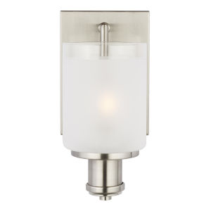 Norwood Brushed Nickel One-Light Bath Vanity with Clear Highlighted Satin Etched Shade Energy Star