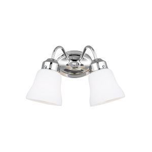 Westmont Chrome Two-Light Bath Vanity with Satin White Shade Energy Star