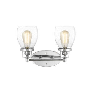 Belton Chrome Two-Light Bath Vanity with Clear Seeded Shade
