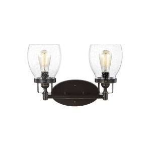 Belton Heirloom Bronze Two-Light LED Wall Bath Fixture with Seeded Glass