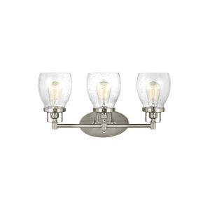 Belton Brushed Nickel Three-Light LED Wall Bath Fixture with Seeded Glass
