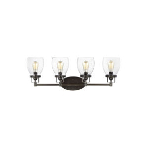 Belton Heirloom Bronze Four-Light LED Wall Bath Fixture with Seeded Glass
