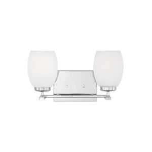 Catlin Chrome Two-Light Bath Vanity with Etched White Inside Shade
