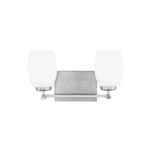 Catlin Brushed Nickel Two-Light Bath Vanity with Etched White Inside Shade
