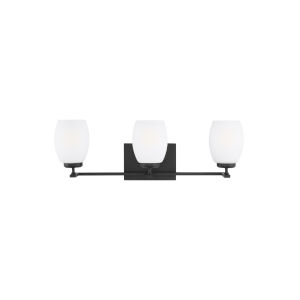 Catlin Midnight Black Three-Light Bath Vanity with Etched White Inside Shade