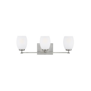 Catlin Brushed Nickel Three-Light Bath Vanity with Etched White Inside Shade Energy Star