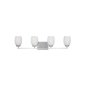 Catlin Brushed Nickel Four-Light Bath Vanity with Etched White Inside Shade
