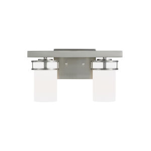 Robie Brushed Nickel Two-Light Bath Vanity with Etched White Inside Shade