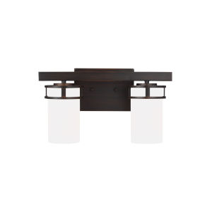 Robie Burnt Sienna Two-Light Bath Vanity with Etched White Inside Shade Energy Star