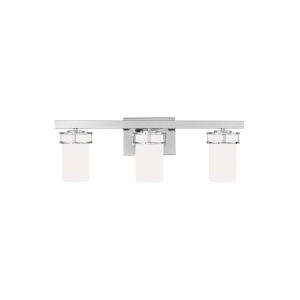 Robie Chrome Three-Light Bath Vanity with Etched White Inside Shade Energy Star