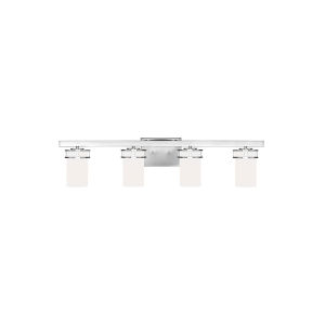 Robie Chrome Four-Light Bath Vanity with Etched White Inside Shade Energy Star