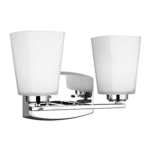 Waseca Chrome 13-Inch Two-Light Bath Vanity