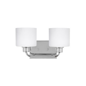 Canfield Chrome Two-Light Bath Vanity with Etched White Inside Shade Energy Star