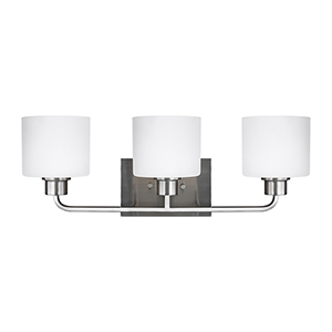 Canfield Brushed Nickel 23-Inch Three-Light Bath Vanity