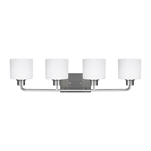 Canfield Brushed Nickel 32-Inch Four-Light Bath Vanity