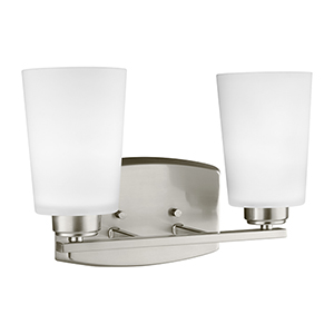 Franport Brushed Nickel 13-Inch Two-Light Bath Vanity