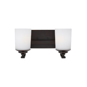 Kemal Burnt Sienna Two-Light Bath Vanity with Etched White Inside Shade Energy Star