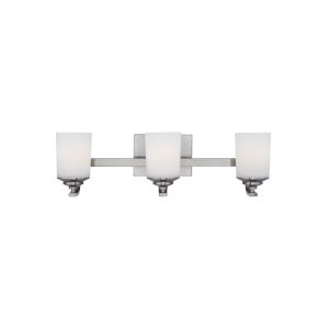 Kemal Brushed Nickel Three-Light Bath Vanity with Etched White Inside Shade