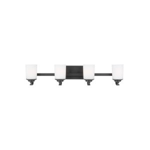 Kemal Midnight Black Four-Light Bath Vanity with Etched White Inside Shade