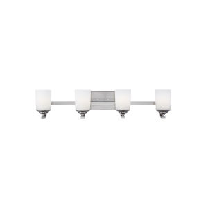 Kemal Brushed Nickel Four-Light Bath Vanity with Etched White Inside Shade