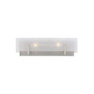 Syll Brushed Nickel Two-Light Bath Vanity with Clear Highlighted Satin Etched Shade