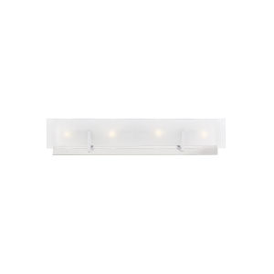 Syll Chrome Four-Light Bath Vanity with Clear Highlighted Satin Etched Shade