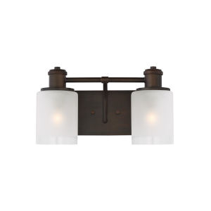 Norwood Burnt Sienna Two-Light Bath Vanity with Clear Highlighted Satin Etched Shade