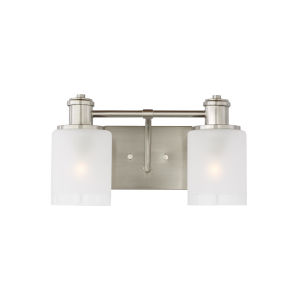 Norwood Brushed Nickel Two-Light Bath Vanity with Clear Highlighted Satin Etched Shade Energy Star