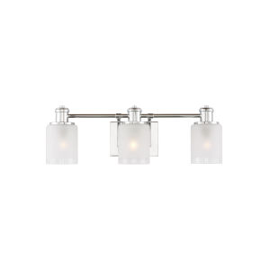 Norwood Chrome Three-Light Bath Vanity with Clear Highlighted Satin Etched Shade